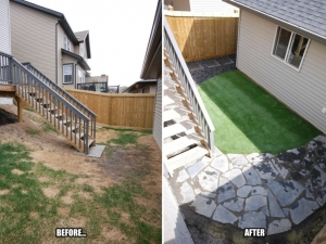 "Use of ""Artificial Turf"" really helped to control the damage the family pet was having on this ""Walker Lakes"" yard"