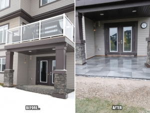 "Our client can now enjoy the increased space on her walk-out Patio at this ""Granville"" landscape revitalization project"