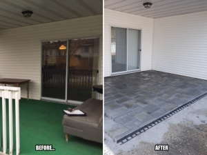"Out with the deck and in with a beautiful ""Blu 60mm Paving Slab Patio by Techo-Bloc"""