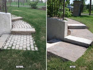 "We replaced the old paving stones with ""Mega-Libre (Toscana) by Belgard"" at this Hodgson project"