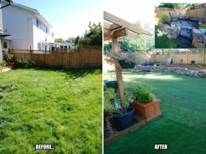 "This ""Blue-Quill"" landscape revitalization project really improved the ""functionality"" of the rear yard. It looked pretty good too!"