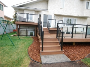 "Another angle of the ""Custom Built 3 Tier Composite Deck"" in Terwillegar Heights"