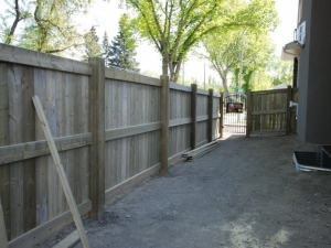 "Pressure Treated Fence in Allendale. 6x6x10' Posts were utilized in order to construct a solid fence, and one that will definitely ""stand the test of time"""