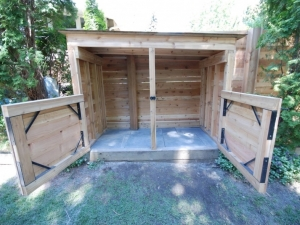 Another look at the Custom Built (Cedar) Garbage Shed... with the doors wide open