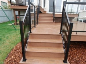 """A view of the access steps leading up to our """"Composite Deck"""" project in Terwillegar Heights"""