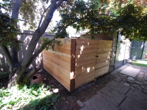 This Fence incorporated Cedar 6x6x10' Posts and Horizontal Boards