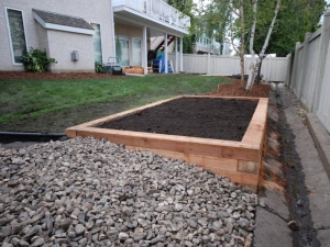 """We elected to use Cedar in order to create a (level) """"Vegetable Garden"""" at this walkout lot in """"Leger"""""""