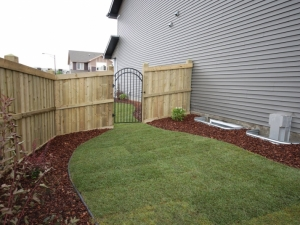 """Another Pressure Treated Fence c/w Black Aluminum (maintenance free) Gate. This type of gate will not warp like traditional """"wooden"""" gates and they provide more of a """"modern"""" and """"custom"""" look"""