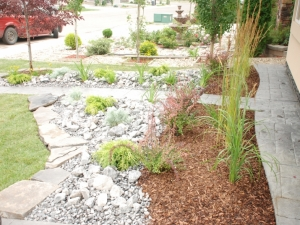 """""""Rocky Mountain Rustic"""" & """"Small Wood Bark"""" Ground Cover combination really complimented the front yard at this Mactaggart landscape revitalization project"""