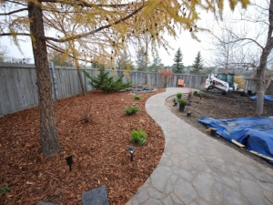 Mega-Libre (Toscana) Slab by Belgard Pathway leading out to the Patio and Pond area