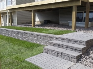 """A """"PISA 2 Retaining Wall"""" c/w """"Built-In Steps"""" helped to create a """"Terracing"""" effect at this Glenridding walkout lot"""