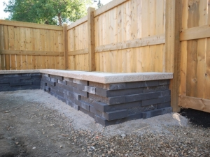 """On this particular (Allendale) project we constructed a """"Raised Vegetable Garden"""" utilizing """"Graphix Wall by Techo-Bloc"""". It has a real """"modern"""" look and complimented the modern architecture of the home really well"""