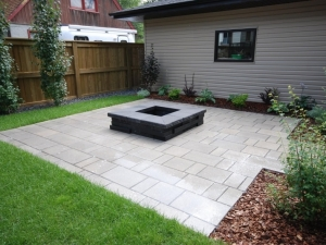 """We incorporated """"Techo-Bloc Blu 60mm (Smooth) Slab in Greyed Nickel Patio"""" & """"Graphix (Onyx Black) Fireplace"""" on this particular Allendale (infill) project"""
