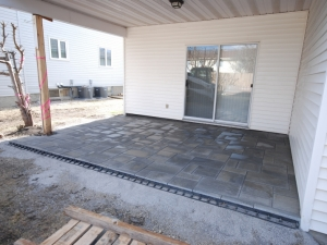 """After removing the (at grade) Deck, we transformed this OutdoorSpace by constructing a Patio utilizing """"Blu 60mm Paving Slab by Techo-Bloc"""""""