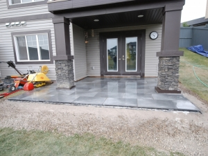 """Our client elected to go with """"Travertina Raw Paving Slab by Techo-Bloc"""" at this """"Granville"""" landscape revitalization project"""