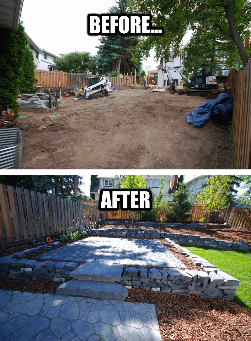 Backyard Landscaping Before and After Photo